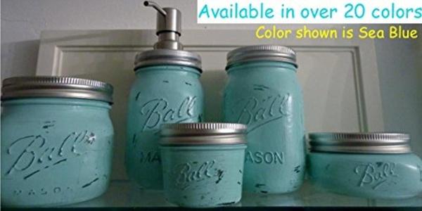 5 Piece Mason Jar Bathroom Organization Set - Painted Mason Jar Set - Mason Jars Soap Dispenser - Mason Jar Set - Teal Jars