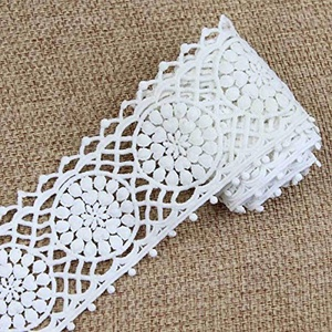 2 Yards White Floral Lace Trim Applique Embroidery Elegant Sewing Craft (No.4 (8.2 cm))