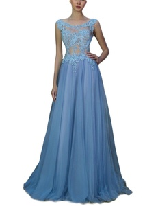Favors Women's Long Sheer Neck Prom Lace A Line Evening Gown Dress Blue 18W