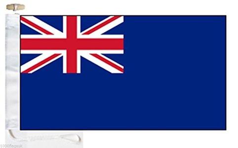 British Royal Navy Reserve Blue Ensign Courtesy Boat Flag - Roped & Toggle - 5'x3' - 150cm x 90cm