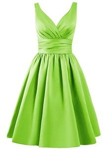 Angel Formal Dresses Women's V Neck Pleated Satin Formal Prom Dress(6,Lime Green)