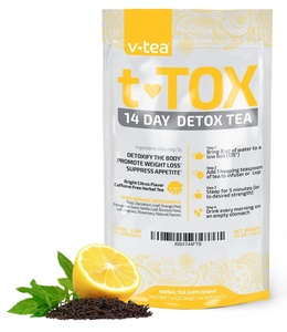 v tea 14 Day Detox Tea: Bright Citrus Teatox Cleanse for Natural Weight Loss. Reduce Bloating. Appetite Suppressant. 100% Organic with Orange Peel, Lemon Grass and Citrus.