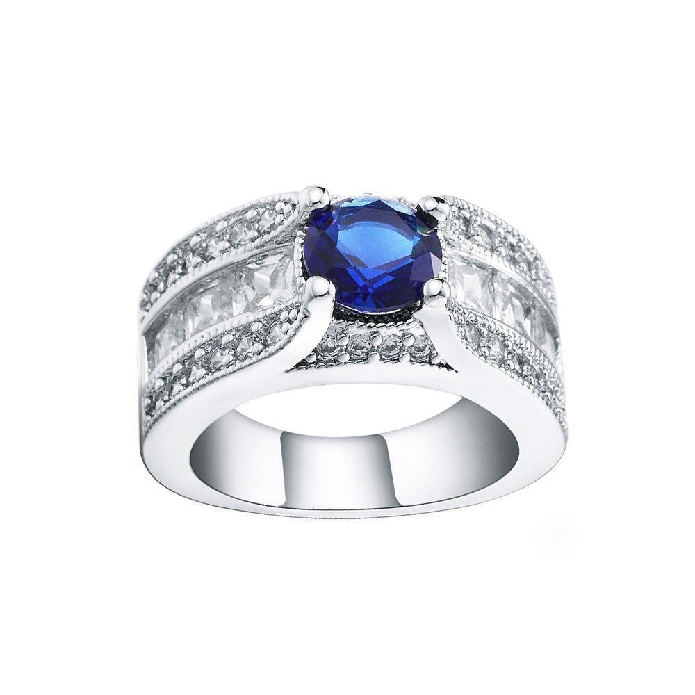 Full Crystal Blue Zircon CZ Finger Ring Engagement Party Wedding Jewelry US 6.7.8.9