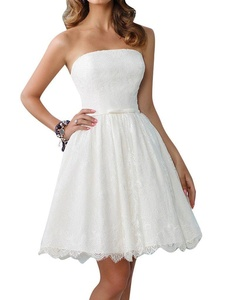 ELLAGOWNS Off Shoulder Bow Tie Waist Lace Short Mini Ball Gown Wedding Dresses White US 6