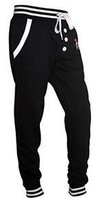 X-2 Men's Fleece Slim Active Joggers Tracksuit Running Pants Athletic Sweatpants Buttons Black M