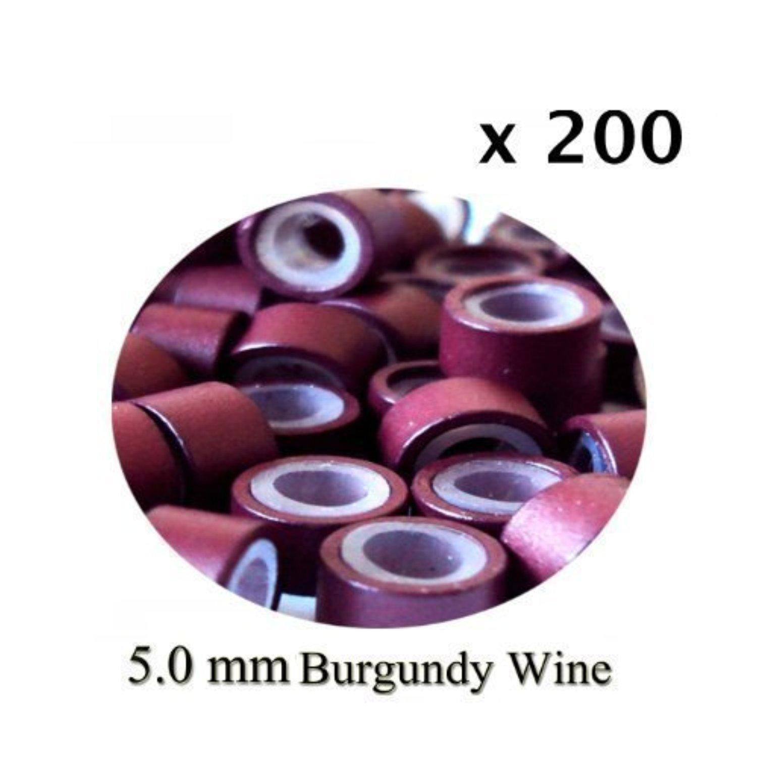 200 Burgundy Silicone Rings 5mm rings for I Tip Hair Extensions or Feather Hair Extensions by Buy Remy