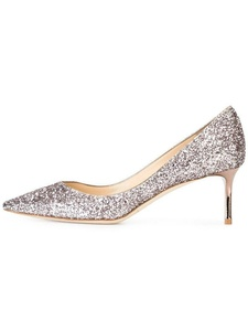 Eldof Womens Mid Heel Pumps | 65mm Pointed Toe Glitter Mid Heels | Slide in Classic Wedding Pumps Glitter US5
