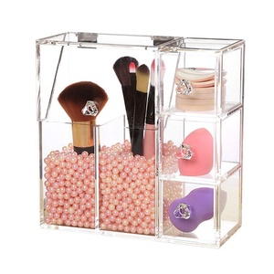 Aoert Acrylic Makeup Organizer with Pearl Clear Cosmetic Brush Holder Drawer Organizer for Makeup Blender Sponge, Lipstick