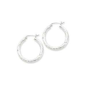 .925 Sterling Silver 27 MM Tube Diamond-Cut Classic Hoop Earrings