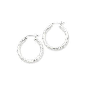 .925 Sterling Silver 27 MM Tube Diamond-Cut Classic Hoop Earrings