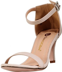 Chase & Chloe Women's Cleo-1 Ankle Strap Sandal (7.5 B(M) US, Nude)