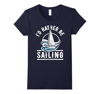 Women's I'd Rather Be Sailing Shirt: Love Boat Sail Gift T-Shirt Small Navy