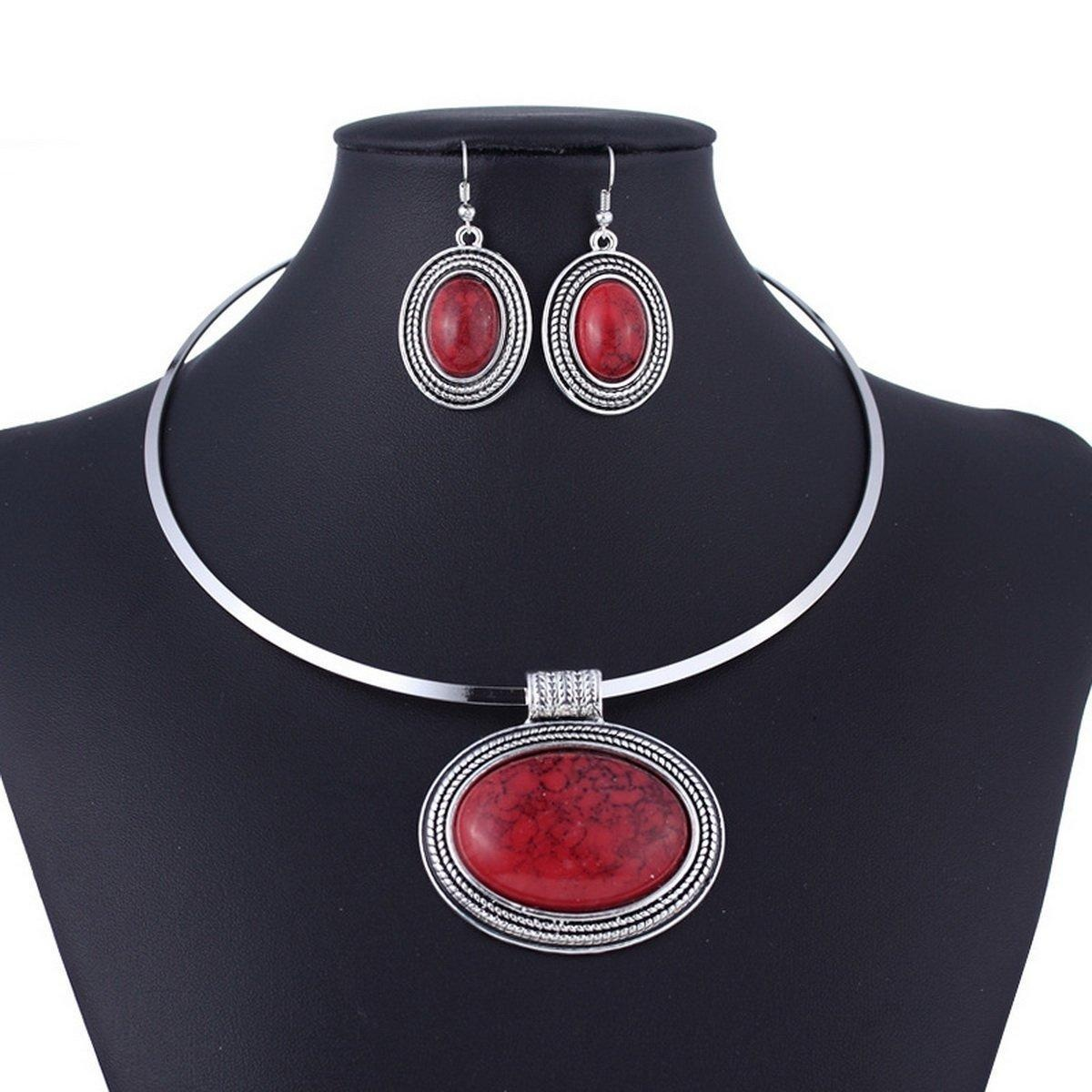 ARICO Round Collar Necklace Set Earrings Turquoise Jewelry Set Red Natural Stone Jewelry Set NB288