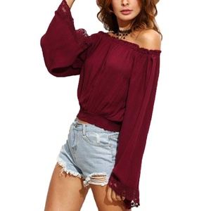 Romanstii Sexy Womens Slash Neck Off Shoulder Long Sleeve Solid Crop Tops Large,Red