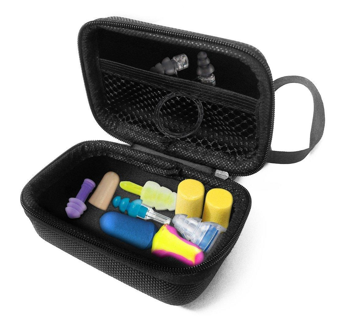 FitSand (TM) Carry EVA Travel Zipper Hard Case for Howard Leight by Honeywell, Etymotic Research, Hearos, 3M, Mack's Ear Care Earplugs - Black Box, Blacker Box, Best Protection for Earplugs