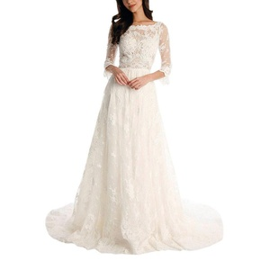 AbaoWedding Lace Applique 3/4 Sleeves Chapel Train Long Wedding Dress Size 2 Ivory