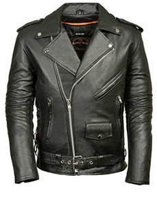 MILWAUKEE LEATHER Men's Classic Side Lace Police Style Motorcycle Jacket (Black, Small) by Milwaukee Leather