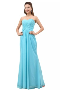 Angelia Bridal A-Line Chiffon Bridesmaid Dress Strapless Long Prom Evening Gown (6,Sky Bule)