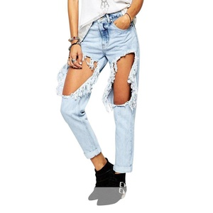 Haogo Womens Washed Destroyed Ripped Distressed Boyfriend Denim Jeans Light Blue 28