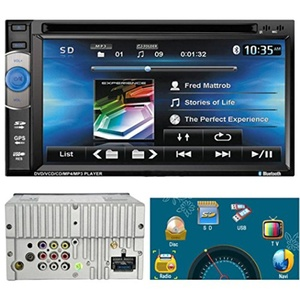 Leewos GPS Navigation Double DIN 6.2 Inch iPod Compatible Bluetooth Stereo DVD Player FM Touch Screen Car Stereo + Rearview Camera / Remote Control