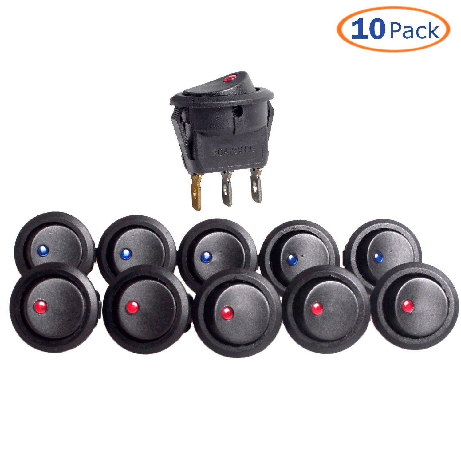 Online Store Conwork 10 Pack 20a 12v Round Rocker Toggle Switch 12 Volt On Illuminated Wiring Blue And Red Led Spst