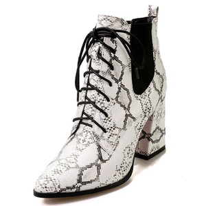 Nine Seven Genuine Leather Women's Pointed Toe Chunky Heel Lace Up Snake Print Handmade Ankle Bootie (8.5, black&white)