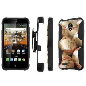 Alcatel [Conquest] Armor Case [SlickCandy] [Black/Black] Heavy Duty Defender [Holster] - [BaseBall] for Alcatel One Touch Conquest 7046T