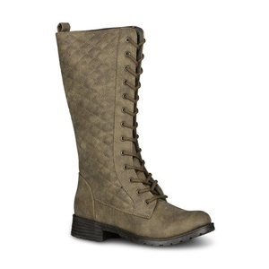 Twisted Women's Timmy Quilted Lace-Up Fashion Boot, OLIVE, Size 11
