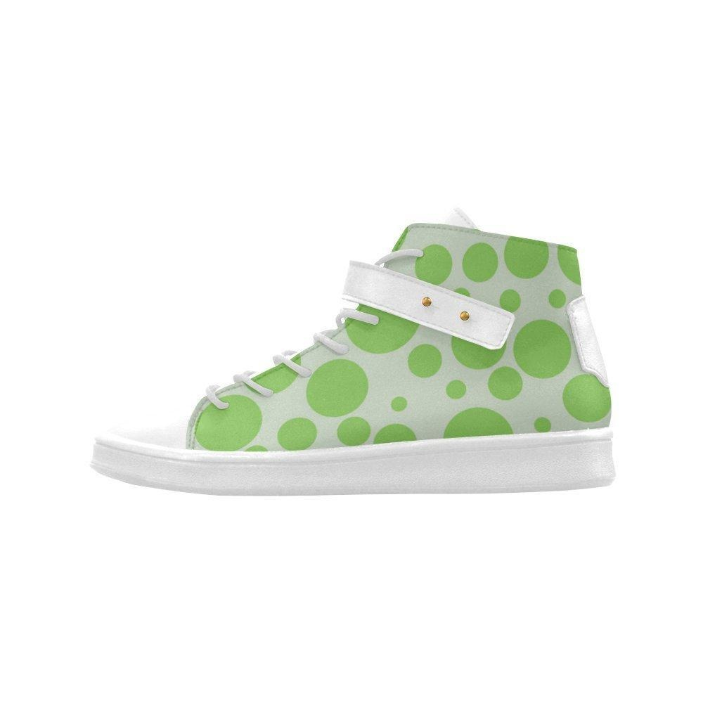 Shoes No.1 Women's Sneakers Lyra Round Toe High-top Shoes Green Polka Dot For Outdoor