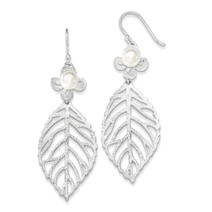 .925 Sterling Silver 59 MM Freshwater Cultured Pearl Leaf Textured Dangle Shepherd Hook Earrings