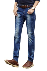TiYa Mens Stretch Denim Slim Straight Jeans