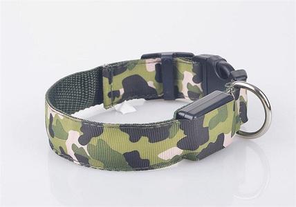 CAMOUFLAGE LED dog collar glow night safety adjustable neck multi-speed light (Medium (14