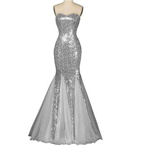 Favors Women's Sweetheart Mermaid Sequin Formal Dress Long Evening Gown Sliver 16