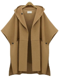 Season Show Women's Bat-wing Sleeve Fleece Hoodie Cardigan Poncho Wool Coat Khaki M