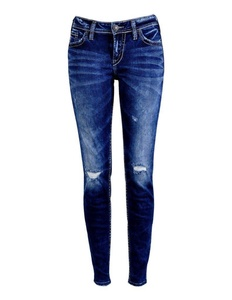Silver Jeans Co. Women's Silver Jeans Co. Marbled Super Skinny Jeans 36W Dark Sandblast