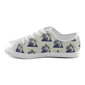 Thelma Wolf Kid's Low-top Lace-up Casual Canvas Shoes Breathable Sneakers,White