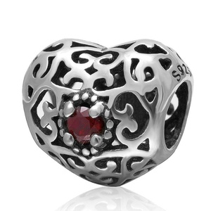 Leobeads Authentic 925 Sterling Silver Openwork Love Heart Charms Beads with Garnet Birthstone Fit Pandora Style Snake Chain Bracelet