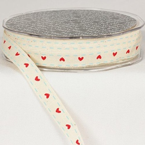 Pack of 2 Heart Print Ivory White and Scarlet Red Woven Edge Ribbon .375 mm x 60 yards