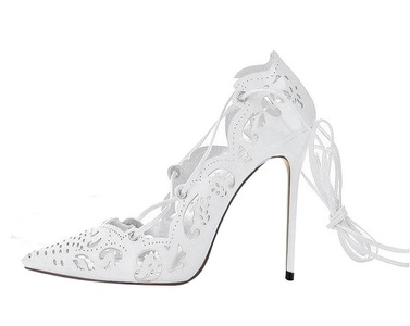 Maovii Women's Big Size Pointed Toe Lace Up Cut-Out High Heels Shoes for Wedding Party Dress 8 M US White