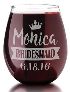 SINGLE Crown Wedding Party Personalized Stemless Glass Wedding Party Names, Titles, Wedding Date Engraved Bridesmaids, Maid of Honor, Mother of the Groom, , Reception, Rehearsal