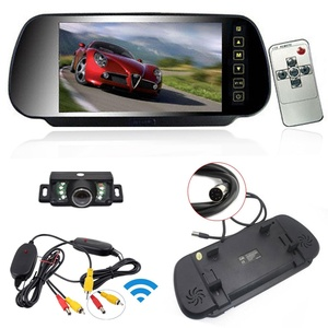 Ehotchpotch Wireless 7 inch Car Rear View Mirror Monitor with Dual Video Input & Remote Control & Rearview Backup Parking Security Camera Kit