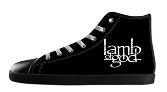 Custom Women's Rock Band Lamb of God Logo Canvas Shoes High-Top Black Rubber Casual Lace-up Soft Inner Sneaker-7M(US)