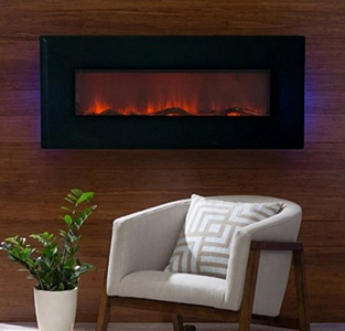 Electric Fireplace Wall Mount,Wall Heater 50 in. LED Wall Fireplace , Color Black, 10 Flame-Warm Up Any Decor With Realistic LED Flames That Flicker And Dance.