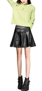 Women Sexy High Waisted Slim Fit Leather Short Club Mini Skirt Black
