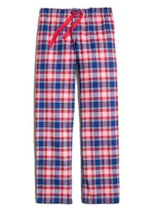 J. Crew Women's Plaid Yarn-Dyed Pajama Lounge Pants (Large) Red/Blue/White