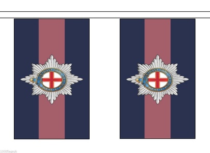 British Army Coldstream Guards Material String Flags / Bunting 10m (33') Long With 28 Flags