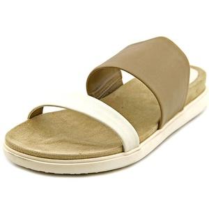 Tahari Marly Women Open Toe Leather Tan Slides Sandal