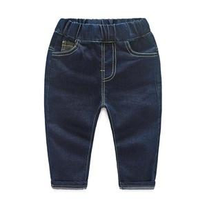 Little Boys Elastic Waist Jeans Camo Decorated Denim Pants Dark Blue 18M