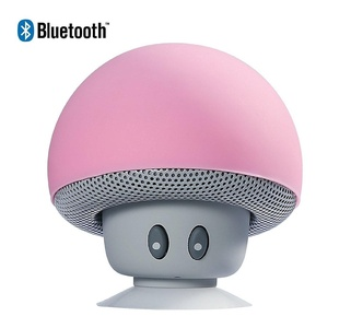 Sudroid Mushroom Mini Wireless Portable Bluetooth 4.1 Speakers with Mic for Iphone Ipad Laptop Samsung HTC Lg Sony Cell Phones (Pink)