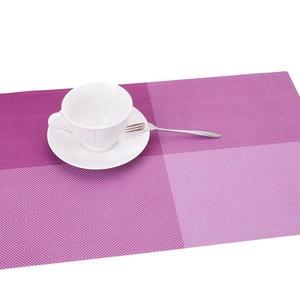 Lerela Purple Grid PVC Placemat Crossweave Woven Heat Insulation Table Mat Set Of 4